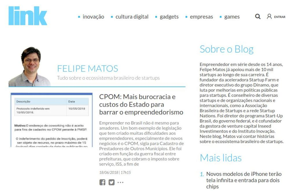 Captura de tela do blog do Felipe Matos